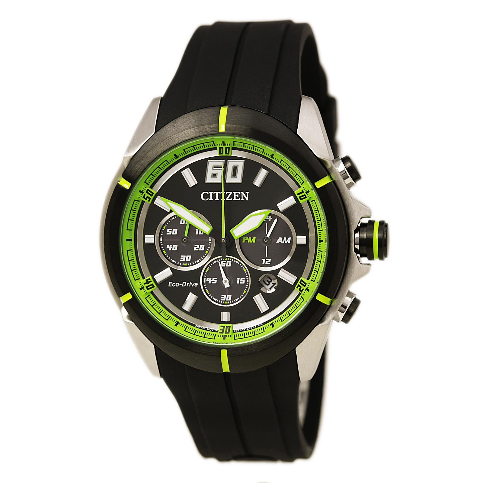 Ca4109 01e Men S Htm Eco Drive Green Accented Black Dial Black Rubber Strap Chronograph Watch