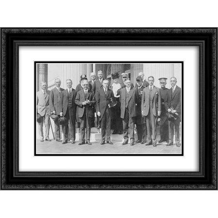 President Coolidge and Herbert Hoover posed, standing, with American Red Cross group 24x16 Double Matted Black Ornate Framed Art (Ornate Standing Cross)