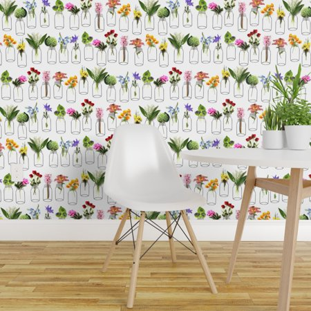 Removable Water Activated Wallpaper Rainbow Botanical Green Flowers Fl