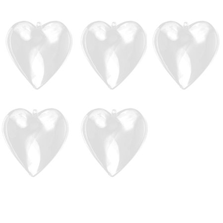 Unique Bargains Hanging Pendant Ornament Plastic Heart Shaped Christmas Dangling DIY Craft Present Bauble Clear 5pcs ()