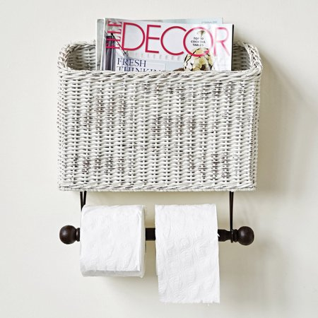 3R Studios Wicker Wall Magazine Toilet Paper Holder