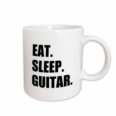 3dRose Eat Sleep Guitar. fun text gifts for guitarist musicians. music player - Ceramic Mug, 15-ounce
