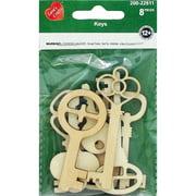 Assorted Wood Shapes-Keys 8/Pkg