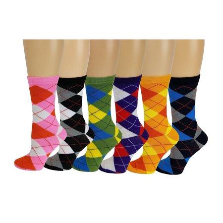 Sumona 6 pairs Women Argyle Fancy Design Novelty Colorful  Crew Socks 9-11