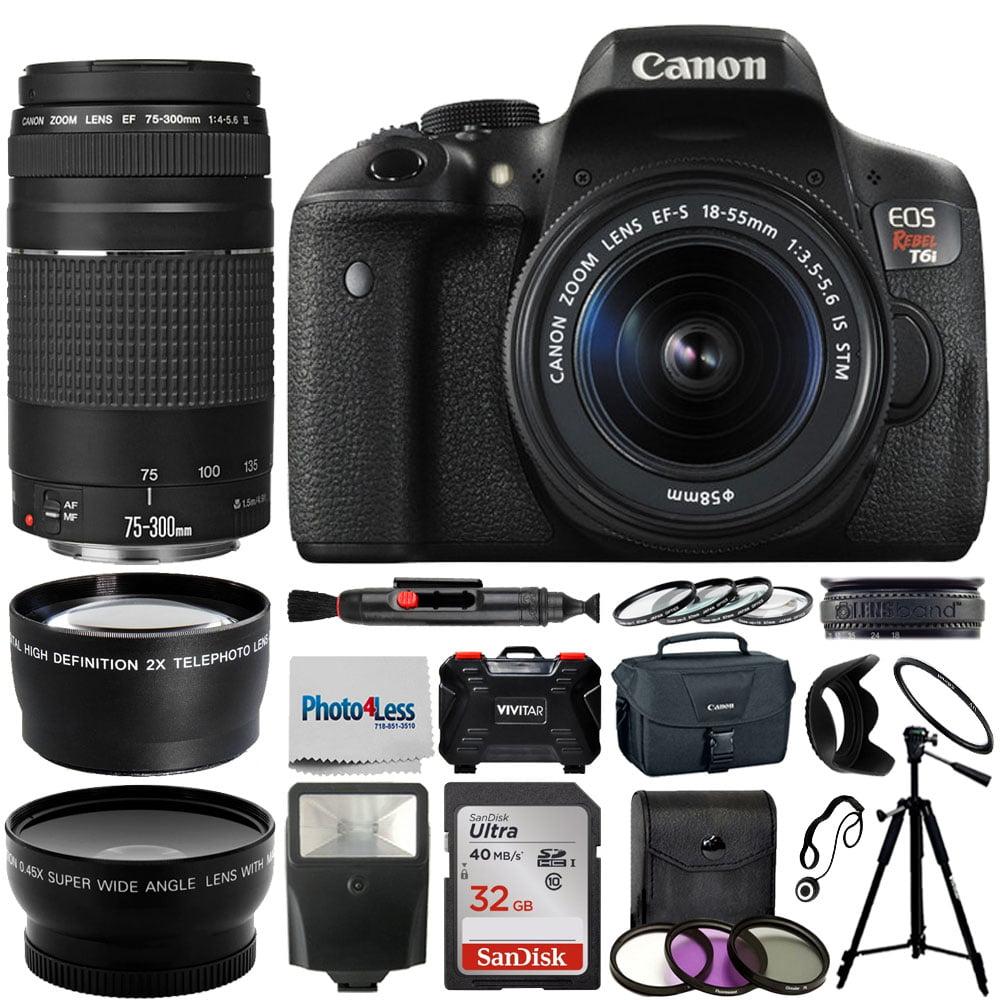 Canon EOS Rebel T6i Camera + 18-55mm & 75-300mm + Top Value Bundle