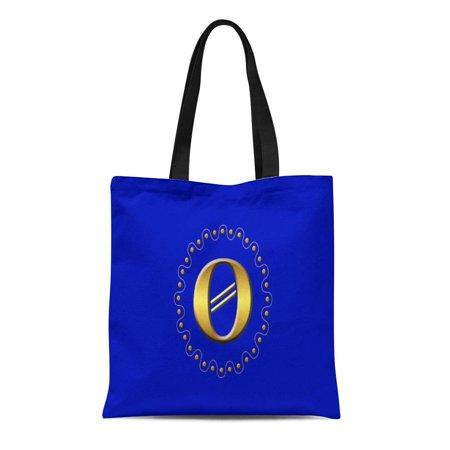 LADDKE Canvas Tote Bag Letter Gold Block O Dots Wave Blue Initial Monogram Reusable Handbag Shoulder Grocery Shopping Bags](Initial Tote Bags)