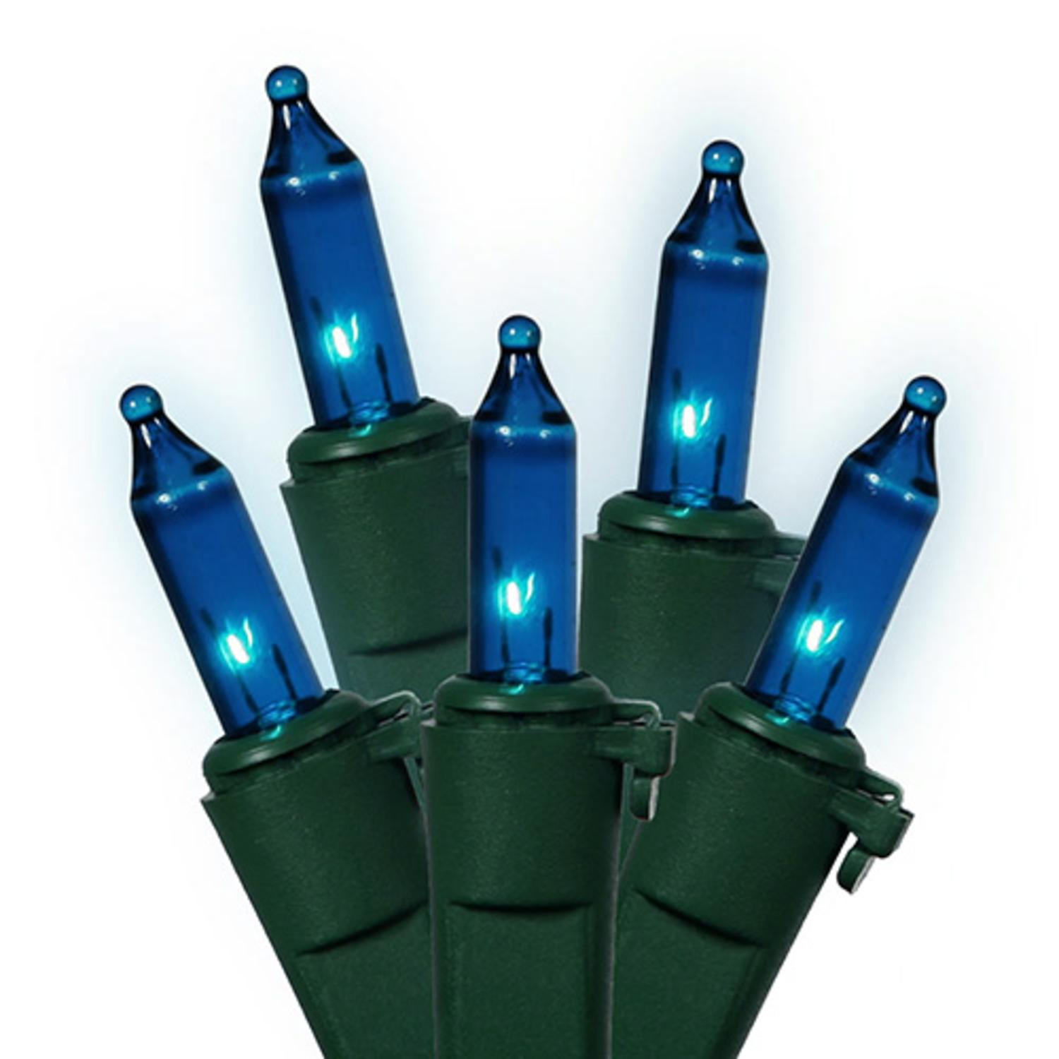 Set of 150 Heavy Duty Blue Mini Christmas Lights - Green Wire Connect 6