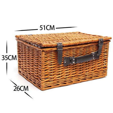 NEW 4 Person Picnic Basket Baskets Set Insulated Mat Blanket Park Strong Wicker Hiking Outdoor - image 3 of 5