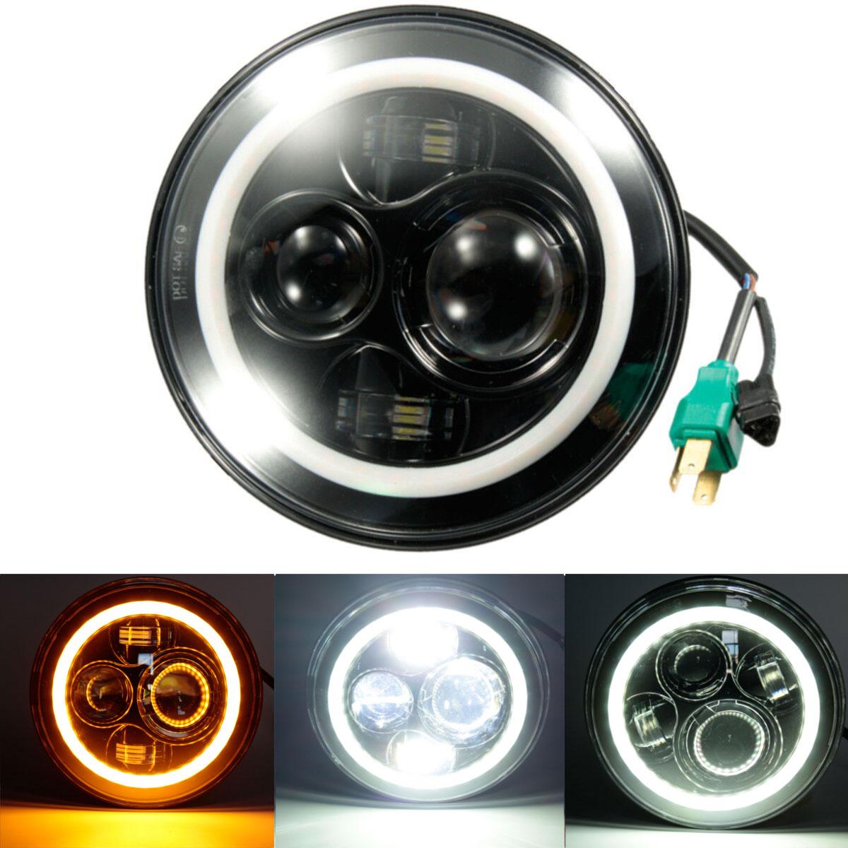 7 Inch Round Hi-Lo Beam Headlights Halo Angle Eyes For Jeep 97-15 Wrangler JK/TJ/LJ