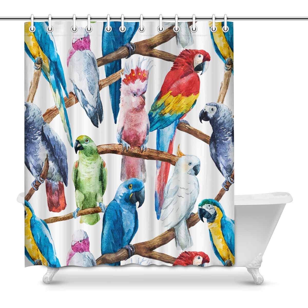 Garden Curtains Tropical Colorful Parrot Polyester Fabric