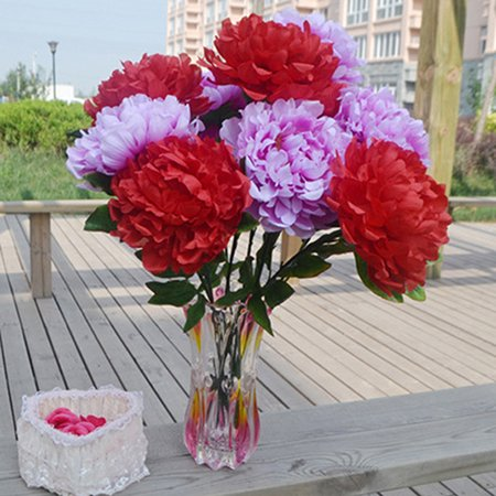 Girl12Queen 15cm Large Artificial Peony Cloth Flower Home Party Decor 5 Flowers on 1 Piece
