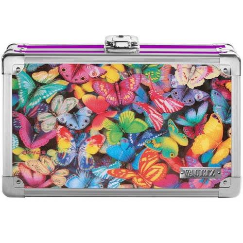 """Vaultz 3D Lenticular Locking Pencil Box, 8.25"""" x 5.5"""" x 2.5"""", Butterflies"""