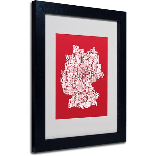 "Trademark Fine Art ""RED-Germany Regions Map"" Matted Framed Art by Michael Tompsett"