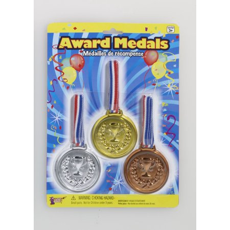 Fake Olympic Games Plastic Champion Gold Awards Medals 3/Pk Costume Accessory (Fake Gold Teeth Costume)