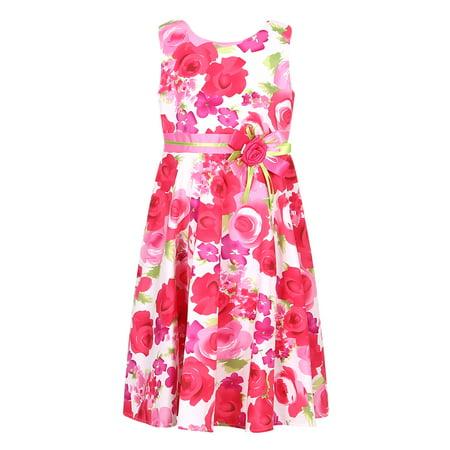 Richie House Girls' Flower Princess Cotton Sundress RH2664-A-10](Navy Pinup Girl)