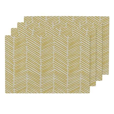 Flax Mesh Cloth (Cloth Placemats Chevron Freeform Arrows Large Flax On Natural Chevron Set of 4)
