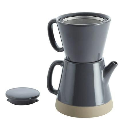 Rachael Ray Ceramic Pour-Over Coffee Set, 5-Cup, Dark Sea Salt