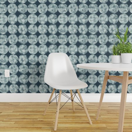 Removable Water Activated Wallpaper Ink Sketch Mod Adjacent Circle Geo