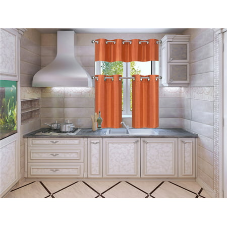 Each Silk Curtain (K7 Orange 3-Piece Solid Faux Silk Blackout Grommet Kitchen Window Curtain Set, Two (2) Lined Tiers Panel 28