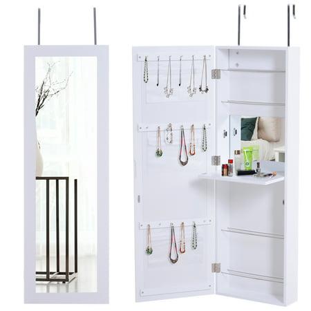 HOMCOM Door Hanging Mirrored Jewelry Storage Cabinet Wall Mounted Organizer