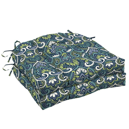 Arden Selections Sapphire Aurora Damask 18 x 20 in. Outdoor Wicker Seat Cushion, Set of 2 ()