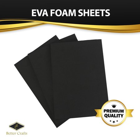 Fibre Craft Foam Shapes - Black EVA Foam Sheet, 9 inch x 12 inch, 6mm- Thick! Great for Crafts! (20 pack)
