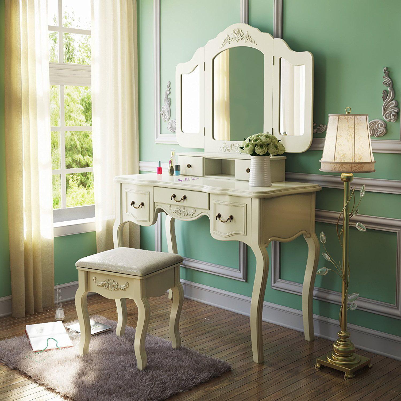 Tribesigns Vanity Dressing Table Set Makeup Desk With Stool U0026 Mirror  Bedroom, Black   Walmart.com