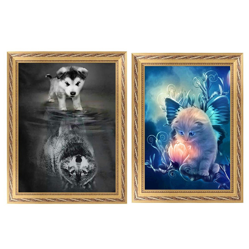 Girl12Queen Modern Wolf Cat Resin Diamond Embroidery Painting Cross Stitch DIY Home Decor