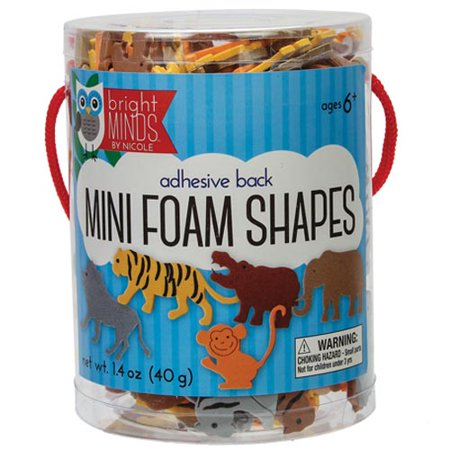 Adhesive Back Mini Foam Jungle Animals - Foam Animals