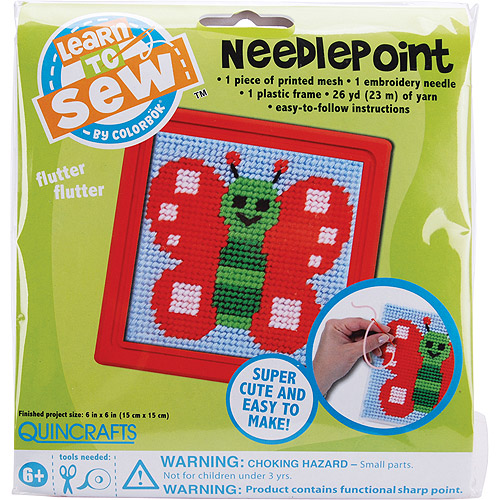Quincrafts Learn to Sew Needlepoint Kit, Butterfly