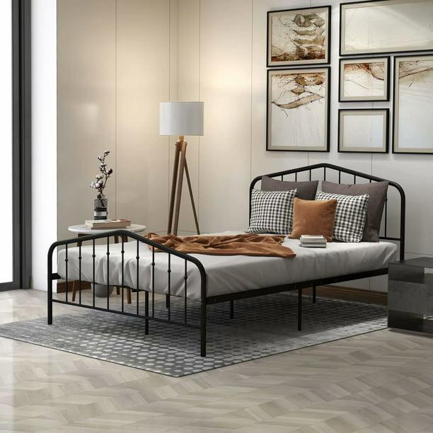 Queen Size Platform Bed Vintage Full, Queen Metal Bed Frame With Headboard No Footboard