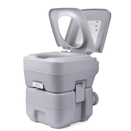 Outdoor Portable Toilet - Travel Mobile Toilet Potty Seat w/ Large 5.3 Gal Water Tank & 3 Gal Waste Holding Tank, 3-Way Flush, Cover and for Camping Hiking RV Travel Boat Outdoors Hiking