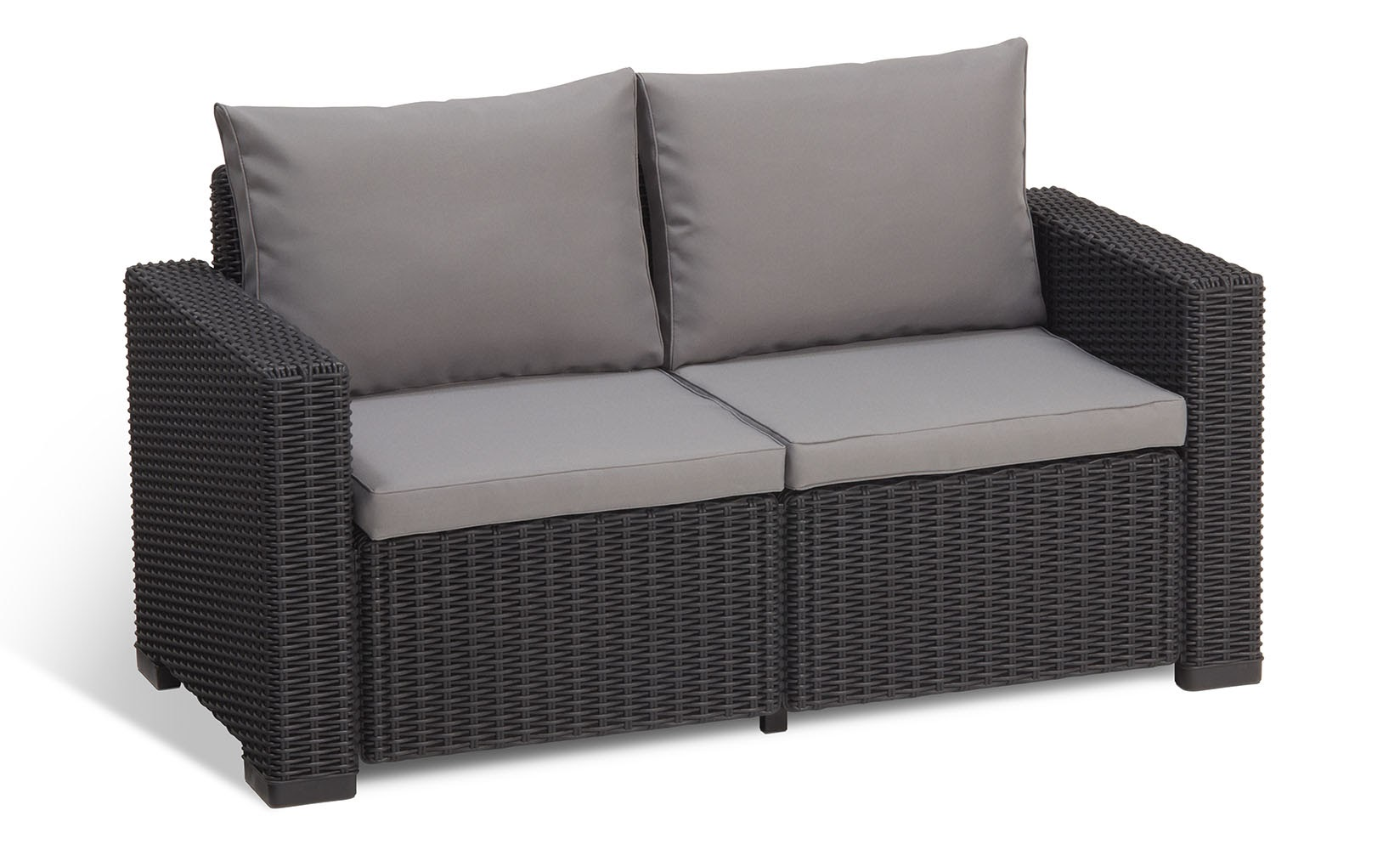 Gentil Keter California 2 Seater Outdoor Seating Patio Sofa Loveseat In Resin  Plastic Rattan/Wicker With Cushions, Grey   Walmart.com