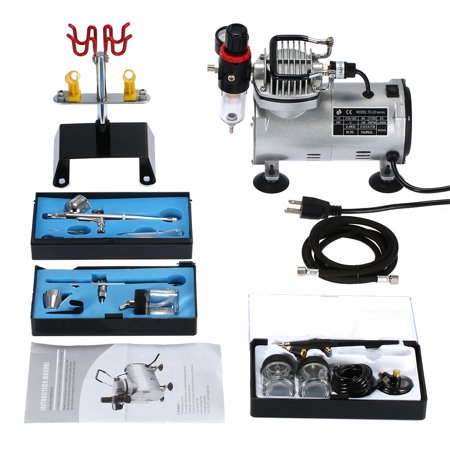 Anself 3 Peinture & Airbrush compresseur Tatouage professionnel Kit machine à double action Set de pulvérisation d'air Brosse Tattoo ongles outil de peinture d'art