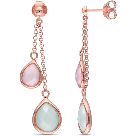 Tangelo 5 Carat T.G.W. Green and Pink Chalcedony Rose Rhodium-Plated Sterling Silver Multi-Pear Dangle Earrings