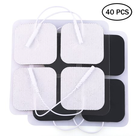 40PCS TENS Unit Electrode Pads Replacement for TENS EMS Massage, 2 Inch Square White Cloth Backing with Premium Adhesive Gel (Tens Pads Electrodes Reusable)