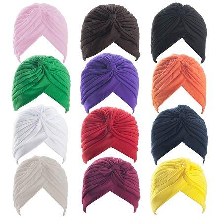 ALICE Polyester Turban Sun Cap Headband Head Wrap Head Cover Hat - 1 Dozen-Assort Color