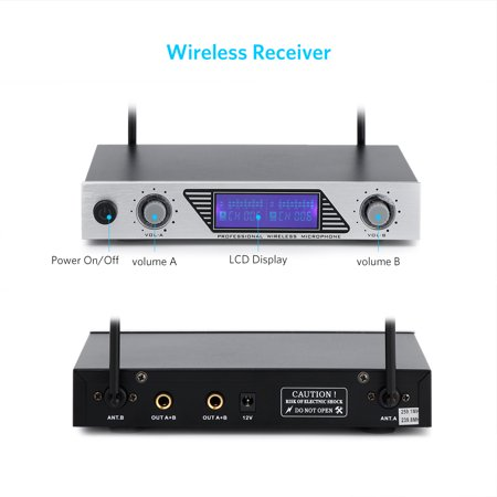 ARCHEER UHF Wireless Microphone Receiver System with 2 Cordless LCD Display Handheld Dynamic Microphones - For Outdoor Wedding Conference Karaoke Microphone Systems Party - image 3 of 9
