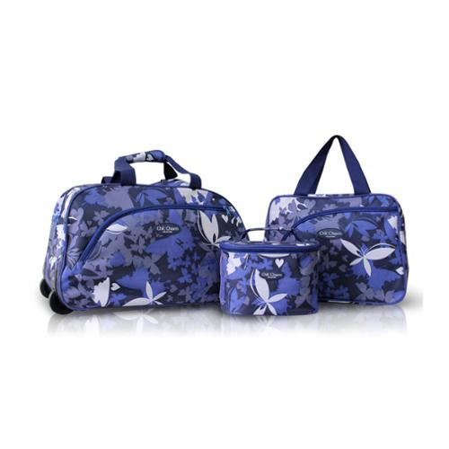Jacki Design Blue 3-piece Rolling Travel Bag and Cosmetic Bag Set