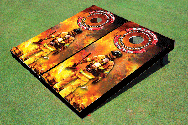 Firefighter Themed Cornhole Board set by All American Tailgate