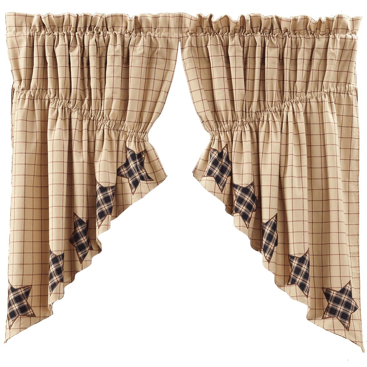Bingham Star Prairie Curtain Applique Lined Set 2 63x36x18