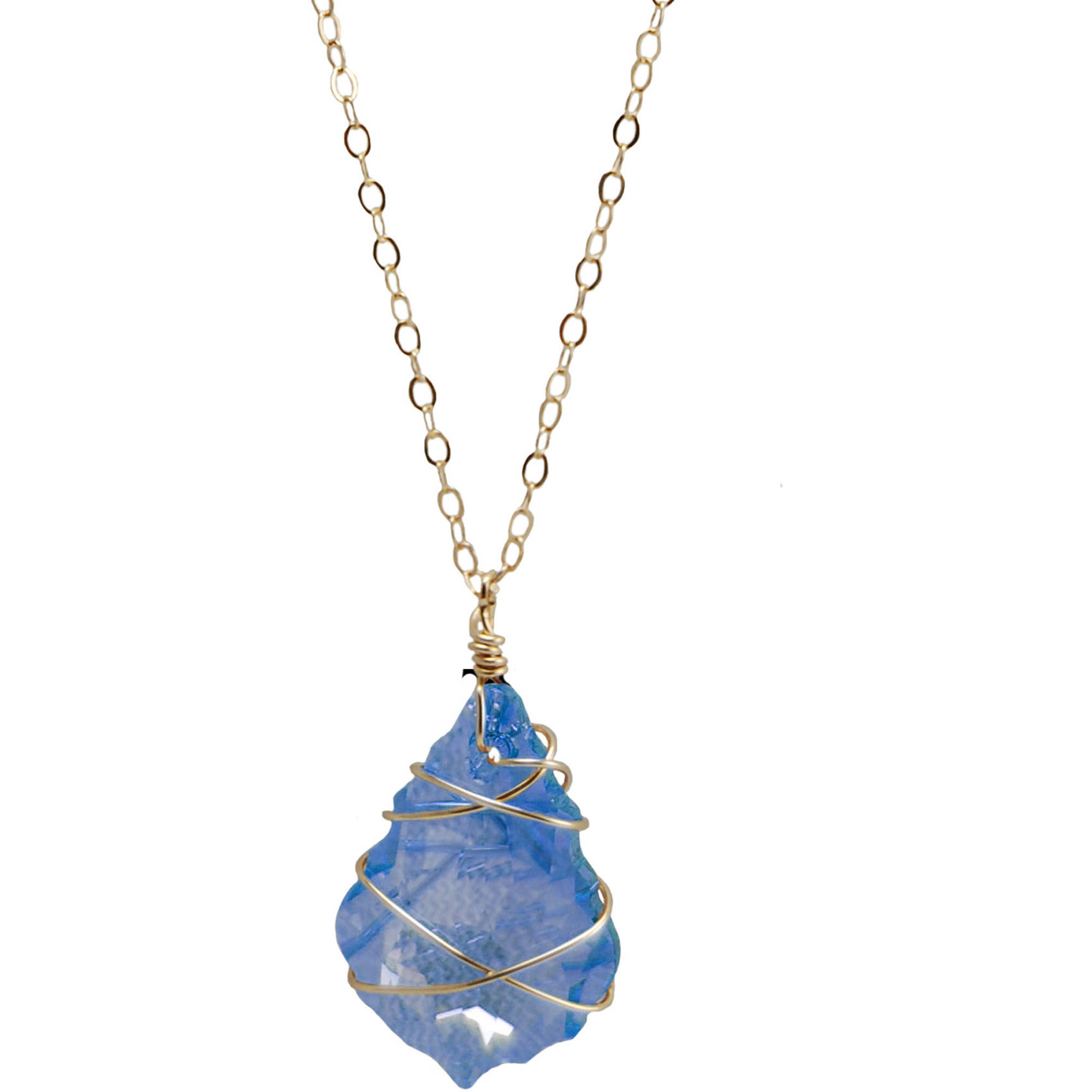 Miss Zoe by Calinana Wire Wrapped Swarovki Crystal Gold Fill Necklace, Blue