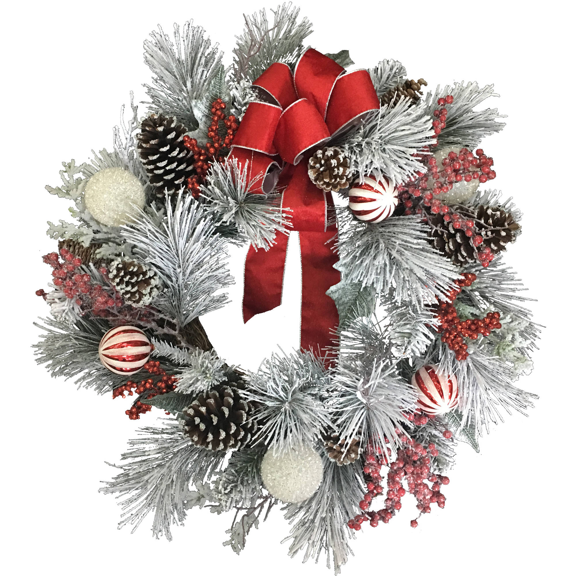 THAI SHUN LEE INDUSTRIAL LIMITED Deluxe Christmas Flocked Berry Mixed Wreath
