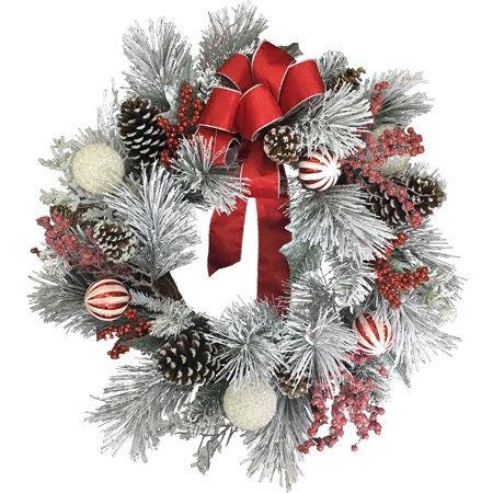 Deluxe Christmas Flocked Berry Mixed Wreath