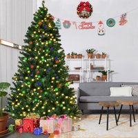 Ktaxon 7' Feet Pre-Lit Artificial Christmas Pine Tree with 200-LED Solar Power String Light,Sturdy Mental legs
