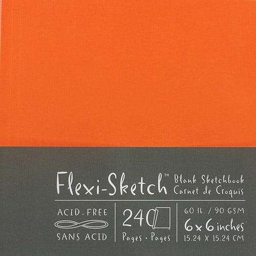 "Global Art Flexi-Sketch Blank Sketch Book, 6""x6"", 120 Pages, Mandarin"