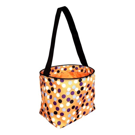 Halloween Treat Baskets Personalized (Custom Personalized Halloween Trick or Treat Fabric Bucket Basket Tote Bag (Orange Dot)