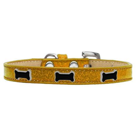 Black Bone Widget Dog Collar Gold Ice Cream Size 14