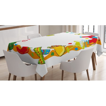 Fiesta Tablecloth, Cartoon Drawing Style Mexican Pinata Taco Chili Pepper Sugar Skull Pattern Guitar, Rectangular Table Cover for Dining Room Kitchen, 60 X 84 Inches, Multicolor, by Ambesonne - Fiesta Tablecloths