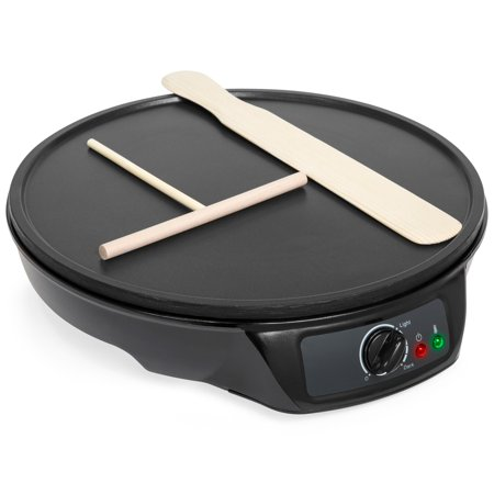 Best Choice Products Portable Non-Stick Electric Griddle Pancake Crepe Maker Pan with Wooden Spatula, Batter Spreader, Indicator Light, 12in, Black ()